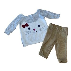 Carters Cat Sweater Gold Pants Winter Outfit